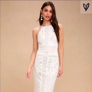 Lulu's white lace/crochet midi dress
